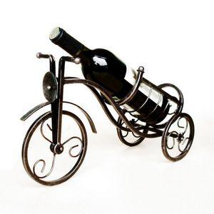 Estante del vino del estilo europeo Retro triciclo decoración del hogar soporte de exhibición del vino artesanía de metal adornos hechos a mano Otros productos de bar con caja