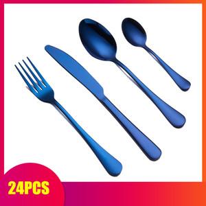 Spklifey cubiertos 24 piezas cubiertos cuchara y tenedor de acero de acero cubiertos tenedores cuchillos cucharas de acero inoxidable