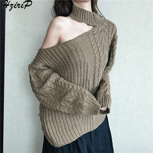 HziriP Spring Warm Twist Sweater Girl Pullover Loose Knitted Ladies Strapless shoulder Turtleneck Long-sleeved Female Tops