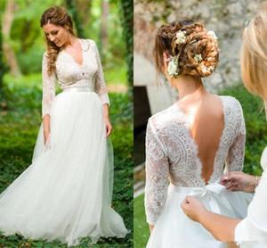 2020 Robes de mariée de pays V cou 3/4 Manches longues Dentelle Applique Applique Ruban Ruban Longueur Tulle Robe de mariée Vestido de Novia