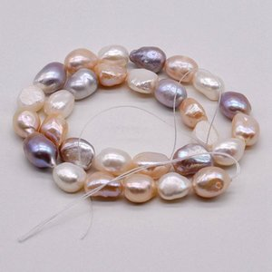 Baroque pearls in bulk. It is 38 cm long and 12 mm in diameter. Natural freshwater pearl necklace. DI semi-finished parts