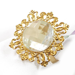 Ouro Limpar guardanapo anel anéis de guardanapo de luxo para casamentos Party Hotel Banquete Jantar Decor Tabela Decoração