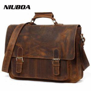 NIUBOA 100% Messenger Bags Male echtes Leder Aktentasche Männer Schulter Top-Leder-Laptop Umhängetaschen Big-Handtaschentote