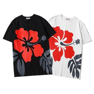 2020ANGELS Beauty tide PALM Flowers printing ANGELS PA loose casual sports round neck short sleeve T-shirt men and women Y E32#