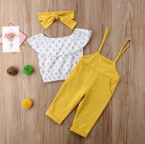Sommer-Kleinkind-Baby-Kleidung weg von der Schulter Kurzarmhemd Strap Lange Hose 3Pcs Kind-Baby-Kleidungs-Satz
