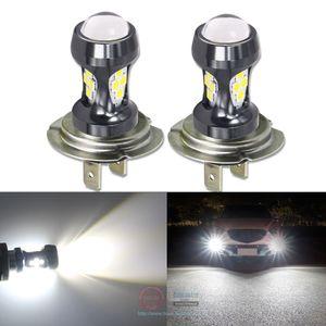 Eseastar 2pcs voiture phares antibrouillard DRL feux diurnes H7 LED haute puissance 2000LM blanc jaune auto H 7 lampe 12-24V