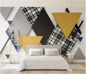 WDBH custom photo mural 3d wallpaper Retro triangle plaid stitching contrast living Room home decor 3d wall murals wallpaper for walls 3 d
