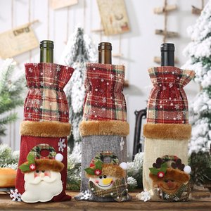 Cartoon Noël Père Noël Bouteille de vin Sacs à cordonnet Plaid Père Noël Bonhomme de neige bouteille de vin Couverture de Noël Sac Cadeau Décoration HHA806
