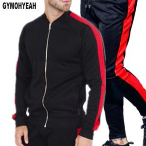GYMOHYEAH İstasyonları Erkek ayarlar Yeni 2018 gündelik basit bir fitness trainingspak mannen moda spor eşofman set erkek fermuar markaları
