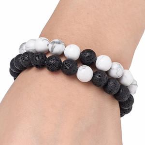 여성 남성 자연 용암 바위 구슬 Chakra Bracelets 치유 에너지 스톤 명상 Mala 팔찌 패션 에센셜 오일 디퓨저 쥬얼리