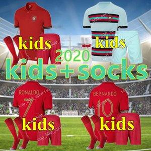 Детский комплект 2020 трикотажные изделия футбола Роналдо Жоао Феликс дома для мальчиков костюм футбол рубашка 20 21 Португалия Гуэдес ребенка устанавливает Камиза де футбол