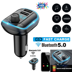 Car FM Transmitter Wireless Car FM Radio Transmitter Adapter Bluetooth Car Kit for Hands-Free Calling with Dual Charging Ports Atmosphere