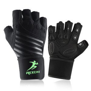 Gimnasio Fitness medio dedo guantes con muñeca Wrap soporte hombres mujeres Crossfit entrenamiento guantes potencia peso levantamiento equipo