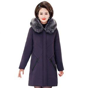 Kadın Aşağı Parkas 2021 Kış Pamuk Ceket Kadınlar Artı Boyutu 5XL Ceketler Kapüşonlu Kürk Yaka Kalınlaşmak Sıcak Orta Yaşlı Uzun