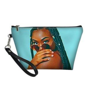Hycool Reißverschluss Afrikaner Glatte Muster Taschen Weibliche Frauen Leichte Kultur Tasche Mädchen Damen Makeup Kosmetik Blaue Taschen Beutel Svowt