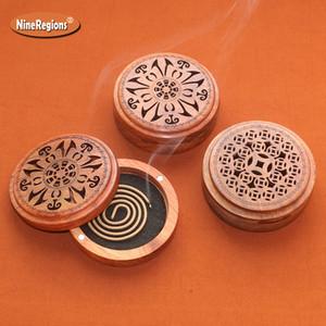 Бесплатная доставка Вьетнам Rosewood Курильница для 2-4Hr Coil Благовоний Портативный деревянный держатель огнезащитными Мат