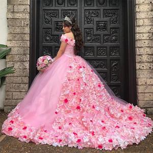Gorgeous 3D Floral Appliques Sweet 16 Ball Gown Quinceanera Dresses Off the Shoulder Neck Brush Train Pink vestido de 15 anos