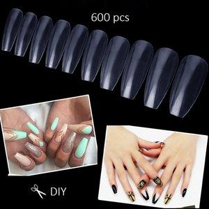 600 шт. Акриловые Ногти Прозрачный Полное Покрытие Гроба Искусственный Ногтей Мода DIY Балетные Ногти Советы Набор Искусства