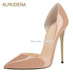 ALMUDENA Sexy Pointed Toe Shallow Stiletto Heels Women Nude Patent Leather Dress Pumps Shoes Celebrity T Stage Banquest Droship Y200702