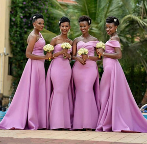 Modern African Sweetheart Neck Satin Mermaid Bridesmaid Dresses Floor Length Plus Size Maid Of Honor Dresses With Detachable Train