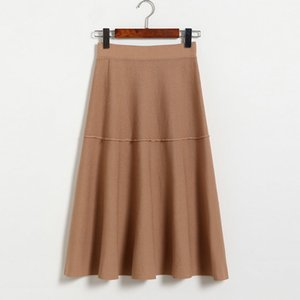 Solid Women Skirt Cotton Ladies Skirts Ankle-Length High Waist Skirt