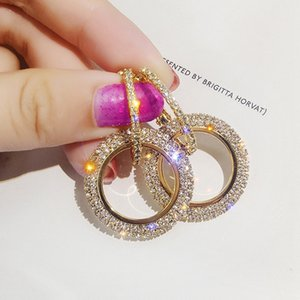 New Rhinestone Korean Fashion Hollow-out Round Drop Earrings Women Luxury Crystal Female Party Gold Silver Trend Earrings Brinco