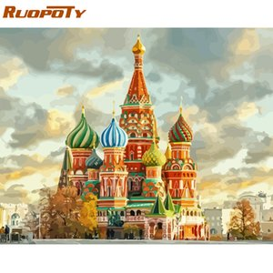 RUOPOTY Frame Castle DIY Painting By Numbers Landscape Kit Handpainted Oil Painting Unique Gift For Home Decor 40x50cm Artwork
