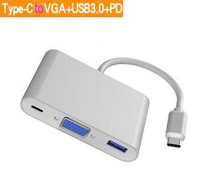 USB 3.1 Typ C auf Buchse VGA + USB 3.0 HUB + PD-Multiport-Digital-AV-Adapter USB C auf VGA 4K-Videokonverter für Apple MacBook Pro Huawei Xiaomi