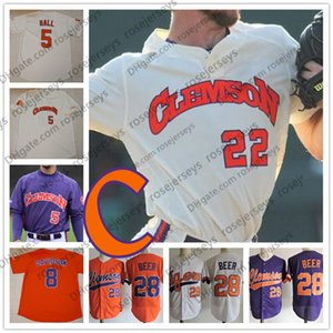 Personalizado Clemson Tigers 2019 Colégio Baseball Qualquer Número Nome Branco Laranja Roxo Pulôver # 28 Seth Cerveja 8 Logan Davidson Jersey S-4XL
