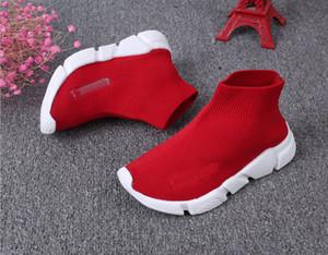 Boa qualidade Red preto Speed Trainer Shoe Casual Boy meninas Sock Botas Stretch-Knit Casual Botas raça Runner baratos sapatilha High Top size26-36