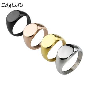EdgLifU Erkekler Basit Yuvarlak 13mm Band Yüzük Moda Kadınlar Paslanmaz çelik Signet Rings Takı Oyuklaştır Logo için Mühür yüzüğü Cilalı