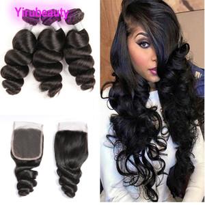 Малайзийские человеческие волосы 3 пакета с 4x4 кружева закрытие Свободная волна 4 шт. / Лот наращивание волос 8-28 дюймов Натуральный цвет оптом мягкий