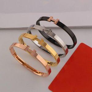 Diseñador de marca Pareja brazalete de moda de lujo H Letra bangle collares 18 K titanio acero plateado pulsera de las mujeres para regalo de cumpleaños