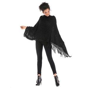 Womens дизайнер свитер одно слова воротника кисточка плащ платок битой рукав нерегулярный свитер женщины 3397
