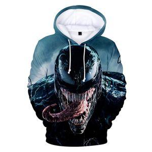 2019 Unisex Venom Hoodies 3D 프린트 긴 소매 슈퍼 히어로 Streetwear 참신 남자 겨울 만화 영화 슈퍼 영웅 운동복