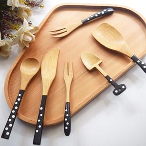 6 أنماط الخيزران رقصة البولكا نقطة ملعقة شوكة الصحة وحماية البيئة المائدة المحمولة التخييم سفر أدوات المائدة ملعقة شوكة BH1812 CY