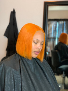 컬러 613 금발 BOB (13) * 4 레이스 프런트가 인간의 머리 가발 옐로우 레드 블루 오렌지 짧은 길이 직 모형 BOB 가발 130 % 사전 뽑아 레미 헤어