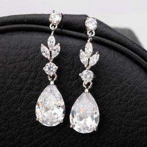 Gümüş Düğün Küpe Vintage Kristal Taşlı Uzun Gelin Küpe Su Damlası Düğün Küpeler Gözyaşı nedime hediyeler Altın Gül