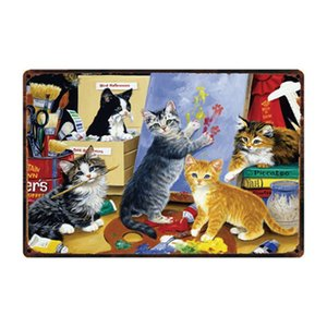 [ Kelly66 ] Black Cat And Happy Cats Metal Sign Tin Poster Home Decor Bar Wall Art Painting 20*30 CM Size Dy47