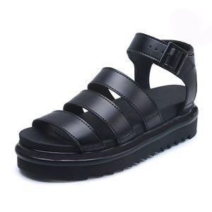 Le nuove donne di design di lusso gladiatore sandali estivi piattaforma 5,5 centimetri open toe di moda opaco vera pelle nero formato 35-40
