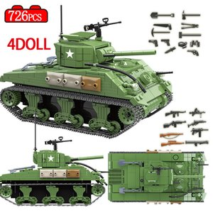 726PCS Military USA Sherman Tank Building Blocks Military WW2 Soldier Figures Weapon Army Bricks Sets Toys for Boys #100081