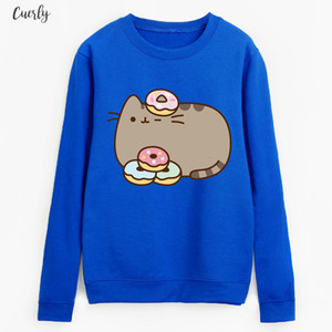 Fleece Casual Style Hoodies 2020 New Sweatshirts Kawaii Cartoon Cat Clothes Women White Black Brand Tracksuits Pullovers Autumn