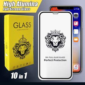 Le Roi Lion Plein écran protecteur en verre trempé pour iPhone 11 Pro Xs Max Samsung Galaxy M10S M30S A70s A30s 10 packs Alumia en verre trempé