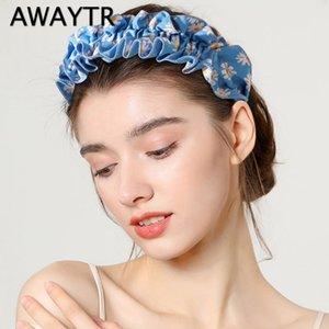 AWAYTR New Folds Daisy Korean Version Pleated Headband Hair Ornaments Cloths Dot Lattice Cloth Hairband Hair Accessories