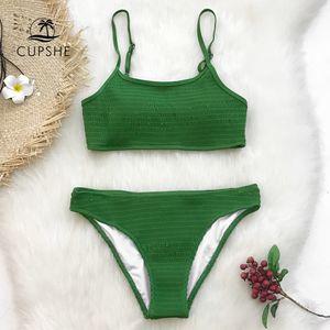 CUPSHE Yeşil Büzgü Bikini Setleri Kadınlar Katı İki Adet Mayolar 2019 Kız Seksi Mayo Mayo