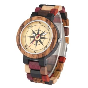 Casual Handmade Compass Dial Design Couple Wrist Watch Natural Wood Watches for Mens Womens Quartz Analog Display Wristwatch Wooden Band
