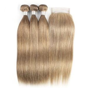 Ash Brown # 8 Straight Remy Человеческие Волосы Ткачество Связки 3 переплетений с 4x4 Lace Closure Бесплатная доставка