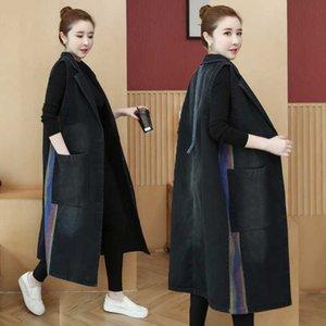 2020 Vintage Cowboy Vest Women's Long sleeveless Vest Jacket Korean Plus Size Suit Denim Windbreaker M549