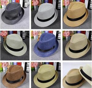 Moda Hombres Mujeres Sombreros de Paja Sombreros Suave Fedora Panamá Sombreros Al Aire Libre Stingy Brim 8 Colores Elegir