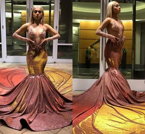 Shining Beaded Black Girls Mermaid Prom Dresses 2020 V Neck Sequined Sexy Long Sleeve Prom Gowns African Prom Dress vestidos de fiesta